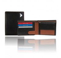 Mens' black Bi-fold wallet - RFID secured wallet - Black leather wallet - Multi Purpose - Personalized